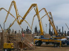 A concrete pump is a vehicle equipped with a device for transferring liquid concrete, conveyed by a concrete mixer truck, at the cast in place through a pipe or hose at a construction site. Various types of concrete pumps are provided according to the working site and the scale of work.