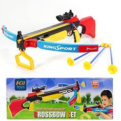 "Toy Crossbow for kids with Scope & Arrows Archery Compound Bow 27"" Long Suction Dart Target Pratice Pretend Play Soft Power Safe Children Game Set - Mulit-Color [USA Warranty 100% Guaranteed]"