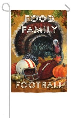 Food Family Football Garden Sub Suede Flag by Evergreen