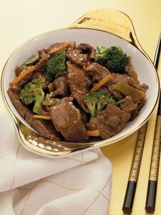 Beef and Broccoli:  http://www.buzzle.com/articles/dinner-ideas-quick-and-easy-dinner-recipes.html#