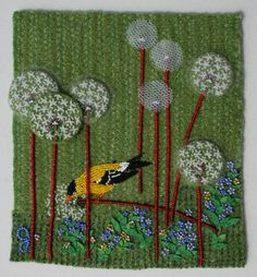 Bead work fibers could be worked on a felted background. Interesting use of tulle in the flowers. Embroidery Applique, Beaded Embroidery, Jo Wood, Seed Bead Flowers, Cross Stitch Landscape, Bird Quilt, Textile Fiber Art, Fabric Squares, Wire Weaving