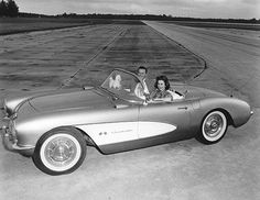 GM Test Driver Betty Skelton and a 1956 Corvette