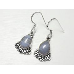 Sterling Silver Blue Lace Agate Earrings