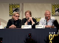 Carrie Fisher Photos Photos - (L-R) Actress Carrie Fisher, actor Mark Hamill and actor Harrison Ford speak onstage at the Lucasfilm panel during Comic-Con International 2015 at the San Diego Convention Center on July 10, 2015 in San Diego, California. - Comic-Con International 2015 - Lucasfilm Panel