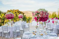 Pink ombre wedding decor | Design: 2Create Designs | Photography: Lin & Jirsa | Venue: Santiago Canyon Mansion |  See the full wedding: http://www.xaazablog.com/romantic-pink-ombre-wedding/ #pinkwedding #pinkombre #weddingflowers