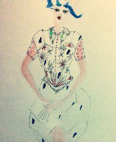 """Blue hair girl"": DoolallytapDesign"