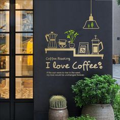 Cafe Wall Art – Page 5 – Wallcorners – Art Canvas Cafe Shop Design, Coffee Shop Interior Design, Coffee Cafe Interior, Sticker Vitrine, Deco Cafe, My Coffee Shop, Coffee Shops, House Coffee, Coffee Wall Art