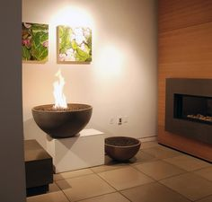 Modern and Unique Fireplace Mantel Kits: Beautiful Fire Pit Fireplace ~ Interior Inspiration Fireplace Mantel Kits, Living Room With Fireplace, Fireplace Surrounds, Fireplace Design, Living Room Decor, Modern Fireplace, Concrete Fire Pits, Wood Burning Fire Pit, Concrete Tiles
