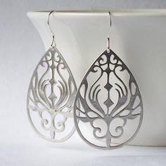 Silver Peacock Pendant Dangle Earrings, Silver Filigree Dangle Earrings. $17.00, via Etsy.