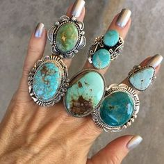 Large Soft Blue & Brown Royston Turquoise Ring with Twist Trim