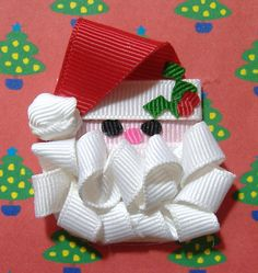 Santa Sculpted Ribbon Hair Clip