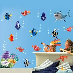 1.18$  Buy here - Seabed Fish Bubble NEMO Wall Sticker Cartoon Wall Sticker For Kids Rooms Bathroom Home Decor Nursery quarto Decals Poster   #buymethat