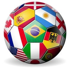 football soccer with world teams flags brazil world cup 2014  Stock Photo - 13986678
