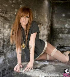 Totally in love with this red hair color! #tattoos #thigh highs #HOT #underwear #long hair #straight