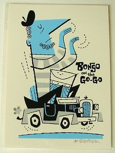 Derek Yaniger Bongo on The Go Go Silkscreen Print Signed Art Drumming Driving | eBay
