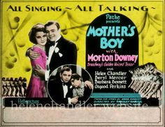 Publicity for 'Mother's Boy' (Pathé Exchange, premiered May Helen played Rose Lyndon. Helen Chandler, 1920s, Singing, Film, Rose, Movie, Pink, Film Stock, Cinema