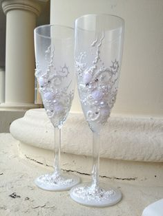 Hand decorated wedding champagne glasses classic by PureBeautyArt