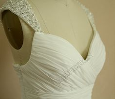 Chiffon Wedding Dress/Bridesmaid dress/Prom Dress Beaded Cap Sleeves Dress on Etsy, $139.00