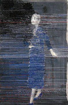 Hinke Schreuders ~ works on paper 31,2012, yarn on paper on canvas