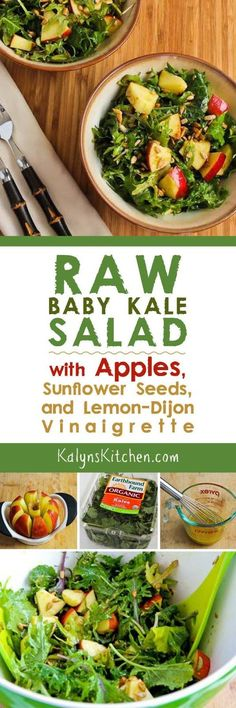 Raw Baby Kale Salad with Apples, Sunflower Seeds, and Lemon-Dijon Vinaigrette found on KalynsKitchen.com