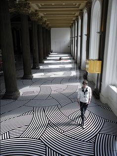 Bold. Geometric.  this is Jim Lambie. (I think that is how it is spelled) He gave me inspiration for my floor installation