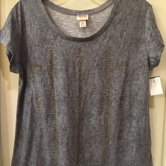 Mossimo NWT shirt size L NWT shirt has front beaded detail Size L tag attached no flaws Mossimo Supply Co Tops