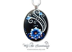 Handmade Polymer Clay Pendant with Swarovski Crystals, Wearable Art by WizArt Creations