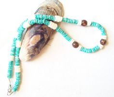 Men's Necklace Turquoise & White Heshi Shells by DreamJewelry17, $21.00