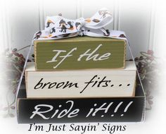 If The Broom Fits.Ride It Ittty Bitty Wood Stacking Blocks 2x4 Crafts, Halloween Wood Crafts, Halloween Wood Signs, Wood Block Crafts, Wooden Crafts, Fall Crafts, Halloween Fun, Holiday Crafts, Crafts To Make