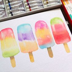 Yummy popsicles #watercolor #watercolorph #watercolour_gallery #watercolorpainting #watercolour #artph #art_we_inspire