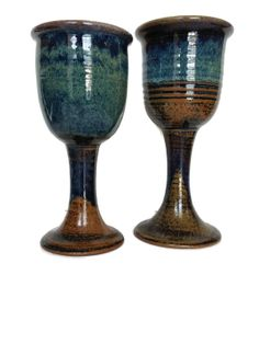 Hand thrown pottery wine goblets blue and brown by Acrossthegap, $18.00