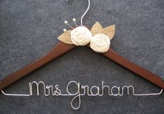 RUSTIC Wedding Hanger - Personalized Wedding Dress Hanger - Walnut Finish with Muslin Flowers, Pearls and Burlap Leaves - Bridal Hanger on Etsy, £24.98