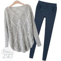Set: Mélange Knit Top + Colored Skinny Pants from #YesStyle <3 PEPER YesStyle.com