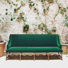 The fashionable world's passion for all things #midcentury means that #antiques often get left on the sidelines, but dealer-decorator #RoseUniacke makes sure to splash her #contemporary rooms with objects from days gone by. Among her #Masterpiece London offerings is a sleek #LouisXIV #walnutframe sofa upholstered in a luxurious shade of #green; the curving arms, legs, and stretcher give this type of furniture the name #osdemouton, or #sheepbone. #kairosinspiration #thekairoscollective