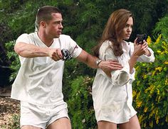 """Most romances are marked by moments in time, but Angelina Jolie and Brad Pitt and mark their whirlwind romance with films beginning with """"Mr. and Mrs Smith"""" only to end with """"By the Sea,"""" Angelina Jolie Divorce, Angelina Jolie Movies, Angelina Jolie Pictures, Brad Pitt And Angelina Jolie, Jolie Pitt, Mr And Mrs Smith, Lara Croft, Jennifer Aniston, Sr Y Sra Smith"""