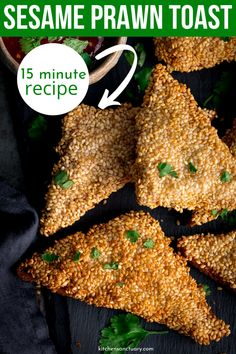 Sesame Prawn Toast takes just 15 minutes to make. Crunchy, savory and downright delicious. Serve as an appetizer or a meal, and enjoy prawn toast. Prawn Recipes, Fish Recipes, Seafood Recipes, Mexican Food Recipes, Appetizer Recipes, Cooking Recipes, Chinese Recipes, Seafood Dishes, Yummy Appetizers