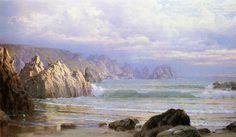 Seascape: le long des falaises, huile sur toile de William Trost Richards (1833-1905, United States)