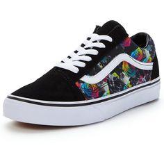 Vans Old Skool Rainbow Floral ($72) ❤ liked on Polyvore featuring shoes, floral printed shoes, floral shoes, floral pattern shoes, flower pattern shoes and vans footwear