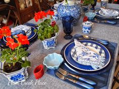 Red White and Blue Patriotic Tablescape for Fourth of July or Memorial Day