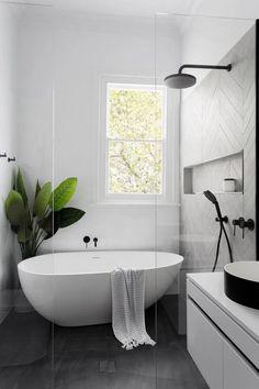 Modern Bathroom Design, Bathroom Interior Design, Minimal Bathroom, Contemporary Bathrooms, Modern Interior, Kitchen Design, Modern Contemporary, Scandinavian Bathroom Design Ideas, Modern Small Bathrooms