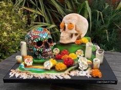 Skulls - Cake by clairessweets Cupcake Cakes, Cupcakes, Sugar Skull, Amazing Cakes, Creepy, Mexican, Sweets, Cool Stuff, Skulls