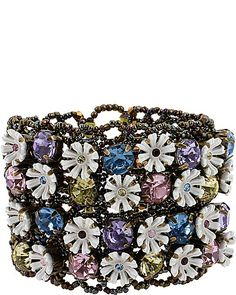 BETSEY JOHSNON SEE DETAILS HERE: GIRLIE GRUNGE FLOWER STRETCH CUFF MULTI