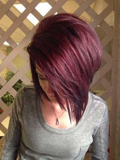 Straigth Dark Red Hair with Layered Side Bangs