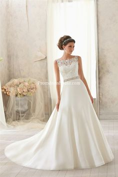 Natural Waist Satin,lace Chapel Train Scoop A-line V-back Wedding Dress - Promdresshouse.com