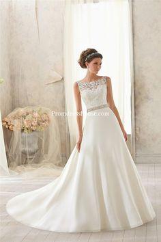 Natural Waist Satin,lace Chapel Train Scoop A-line V-back Wedding Dress - Promdresshouse.com
