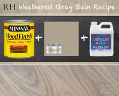I created my own recipe for approximating that Restoration Hardware Weathered. Here is the DIY Restoration Hardware Weathered Gray Stain Recipe. Weathered Grey Stain, Grey Wood, Gray Stain, White Wood, Furniture Projects, Furniture Makeover, Diy Furniture, Furniture Refinishing, Repurposed Furniture