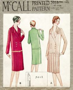 1920s 20s McCall 5018 vintage sewing pattern flapper day dress notched collar drop waist pleat skirt bust 36 repro