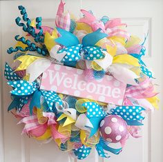 Spring Door Wreaths, Deco Mesh Wreaths, Easter Wreaths, Birthday Wreaths, Christmas Wreaths, Easter Crafts, Easter Projects, Easter Decor, Easter Ideas