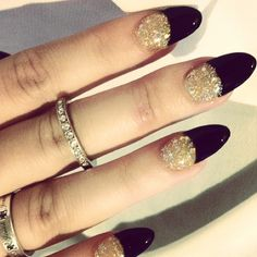 Gold sparkles w/ black tips