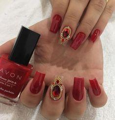 Unhas vermelhas com Joias - Lindas inspirações Nicole By Opi, Diva Nails, Color Club, Sally Hansen, China Glaze, E Design, Essie, Vs Pink, Sephora
